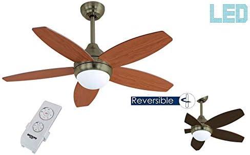 Bastilipo 7814-Bali Cuero LED Bali Ventilador de Techo Mando a ...