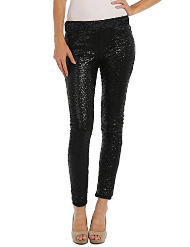 Accreate Womens Shiny Skinny Solid 3 Colors Leggings + Sequin Designs