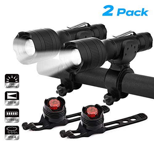 Keenstone Rechargeable Bike LED Lights Front and Back 2 Pack, Bicycle Headlight 700 Lumen Zoomable and Bike Taillight Easy Install & Quick Release Includes Batteries and Charger