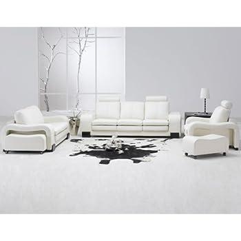 Modern 5 Pcs White Leather Living Room Set