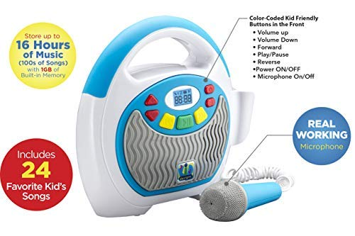 - eKids Mother Goose Club Bluetooth Sing Along Portable MP3 Player Real Mic 24 Songs Storesup to 16 Hours of Music 1 GB Built in Memory USB Port