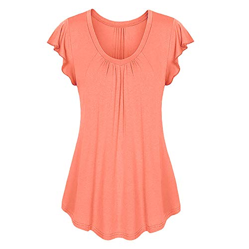 Aniywn Women Round Neck Ruffled Short Sleeve Blouse Solid Color Ruched Irregular T-Shirt Tops Orange