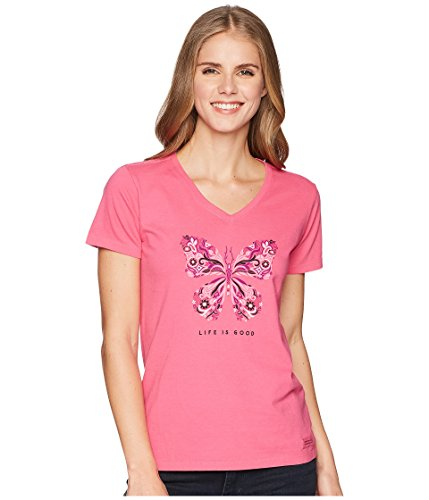 Life is Good Wildflower Butterfly Crusher Vee Fiesta Pink SM (US 4-6) (Womens Life Is Good Clothes)