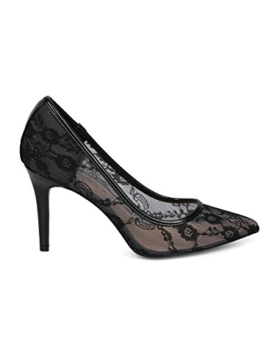 Alrisco Women Floral Lace Mesh Pointy Toe Stiletto Heel Pump - Classic Elegant Dressy Special Occasion Wedding Party - HE71 by Mackin J Collection Black Mix Media zgeKxAx