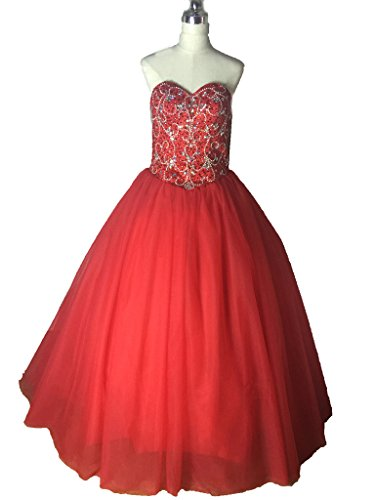 Prom Gown Free Diandiai Dresses Quinceanera Jacket Beads Red Gown Ball Sweetheart q855YxPw