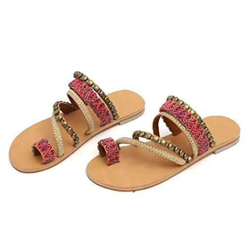 - ANKOLA SHOPPINGS Womens Ladies Girls Bohemian Style Shoes, Female Flat Open Toe Sandals Flip Flops Beach Thongs Slipper Red
