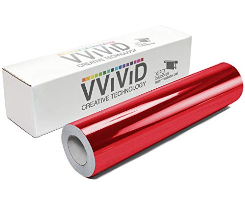 VViViD Chrome Red Gloss DECO65 Permanent Adhesive Craft Vinyl Roll for Cricut, Silhouette & Cameo (7ft x 1ft Roll)