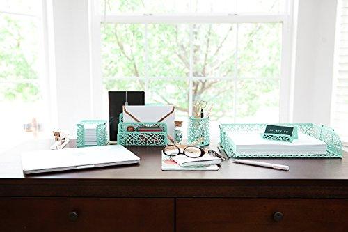 Blu Monaco Office Supplies Mint Green Desk Organizers And