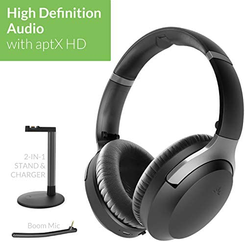 Avantree Aria Podio aptX-HD Bluetooth 5.0 Active Noise Canceling Headphones, Wireless Over Ear Headset with Boom Microphone for PC Computer Conference Phone Calls, Low Latency for TV, Stand & Charger