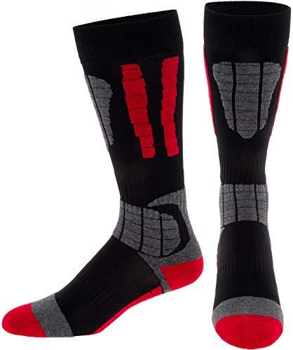 LISH Men's Ski Socks - Over the Calf Thermal Snow Socks for Snowboarding and Skiing (Red, M/L)