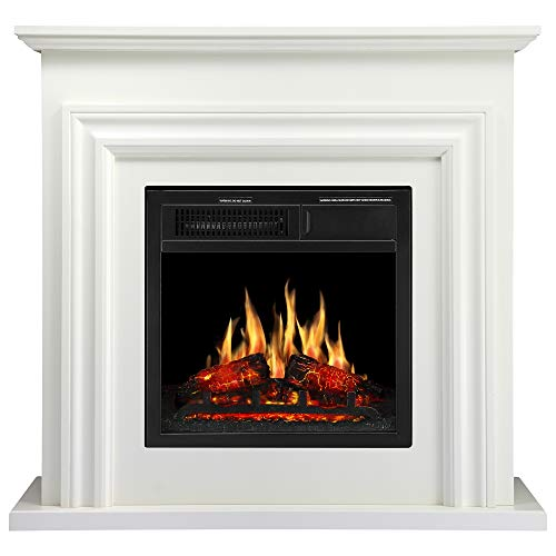 JAMFLY Wood Electric Fireplace Mantel Package Freestanding Heater Corner Firebox with Log Hearth and Remote Control,750-1500W Ivory White Finish