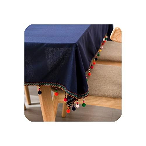 Proud Rose Navy Blue Table Cloth Tafellaken Cotton Linen Tablecloths Creative Tassel Tablecloth Table Cover Wedding Decoration, 140x140cm (Navy Catalog Number)