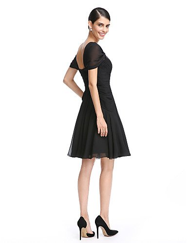 Una Criss AIURBAG de línea cóctel Homecoming Dress gasa de la de Ruching longitud rodilla con Prom Cross 6fdw8xqfr