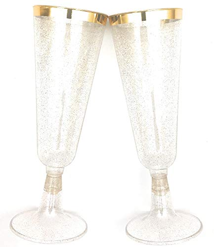 70 pc Gold Rimmed Gold Glitter Classicware Glass Like Champagne Wedding Parties Toasting Flutes Party Cocktail Cups