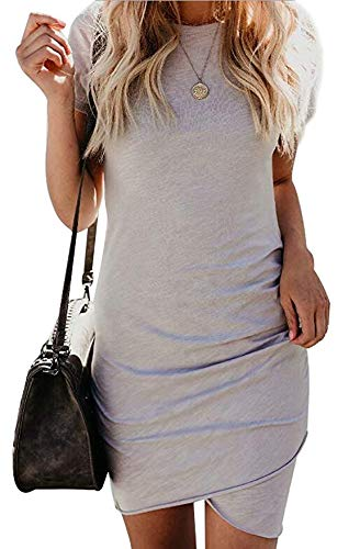 Qearal Womens Short Sleeve Sheath Dress Solid Color Irregular Hem Summer Bodycon Mini Dress S Gray