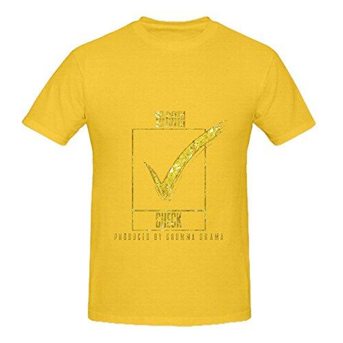 Yo Gotti Check Men Crew Neck Custom Tee Shirts Yellow