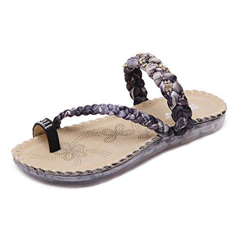 Sandalias para Mujer, RETUROM Mujeres Casual Wedge Clip Toe sandalias Zapatos para Playa Negro