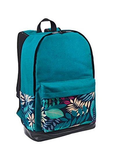 Anne - Bolso mochila  de Lona para mujer negro verde Verde