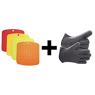 Set of Silicone Heat Resistant Kitchen and BBQ Gloves + 4 Silicone Pot Holders, Trivet Mat, Non Slip Hot Pads,