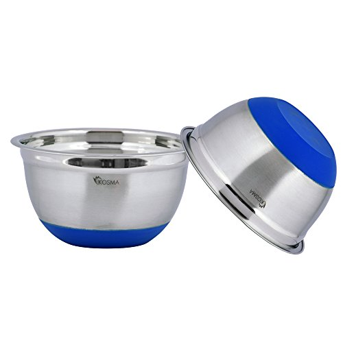 Kosma Set of 2 Stainless Steel Premium Extra Deep Mixing Bowls | Salad Bowl with Blue Colour Non-Slip Silicone Base - 18cm (1.5 Litre)