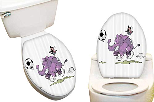 Toilet Seat Sticker Elephant is Playing Soccer with Kid Mario Moustache Sports Football Prin Toilet Sticker Decal Fun Home Decor -