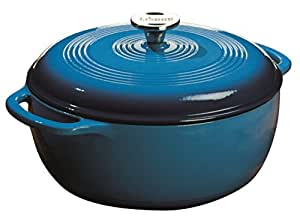 Lodge Color EC6D33 Enameled Cast Iron Dutch Oven, Blue, 6-Quart