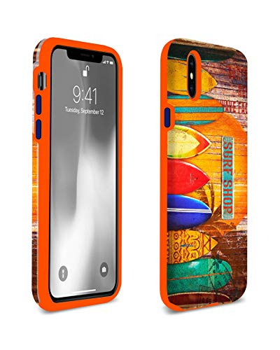 United Streets of Art Surf Shop Surfboard iPhone X/XS Case. Shockproof Flexible Orange TPU - Protective & Slim. Designed and Printed in The USA