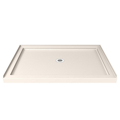 DreamLine SlimLine 36 in. D x 48 in. W x 2 3/4 in. H Center Drain Single Threshold Shower Base in (Biscuit Base)