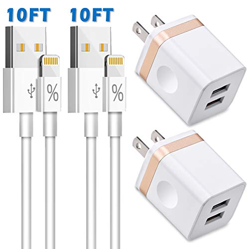 Phone Charger 10ft (Pack-4), LUOBOL (UL Certified) Dual USB Wall Charger Adapter Block and 10-Foot Long Charging Cable Compatible with Phone XR/XS/X 8/7/6 Plus SE/5C/5S, Pad 3/4 Mini Air Pro(Gold) (Iphone 4 Extra Long Charger)