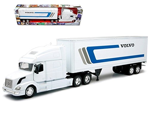 NEW 1:32 NEWRAY TRUCK & TRAILER COLLECTION - WHITE TRAILER VOLVO VN-780 W/Dry Van Trailer Diecast Model By NEW RAY TOYS