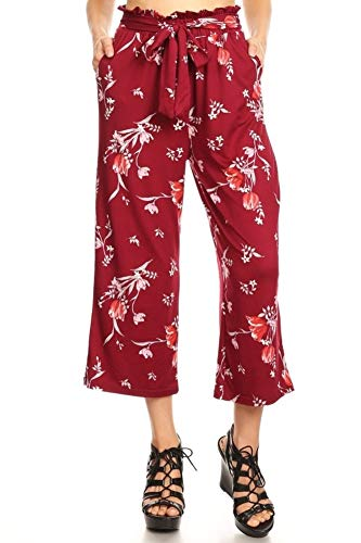 ShoSho Womens Paper Bag Waist Cropped Pants Casual Wide Leg with Pockets Floral Print Burgundy/Red Medium ()