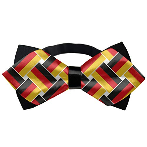 Men & Boys Premium Pre-Tied Bow Ties, Germany Flag Repeat Polyester Casual And Formal Butterfly Bow Tie Adjustable School Uniform Accessories Butterfly Bow Tie (Logo Man With Moustache And Bow Tie)