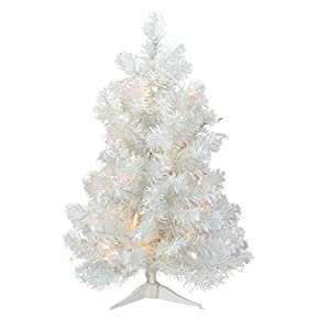 Darice 31734318 Pre-Lit Snow White Artificial Christmas Tree with Clear Lights, 2' 31