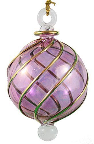 (Egyptian Museum Spiral Crystal Ball with Gold Accent Ornament - Purple)