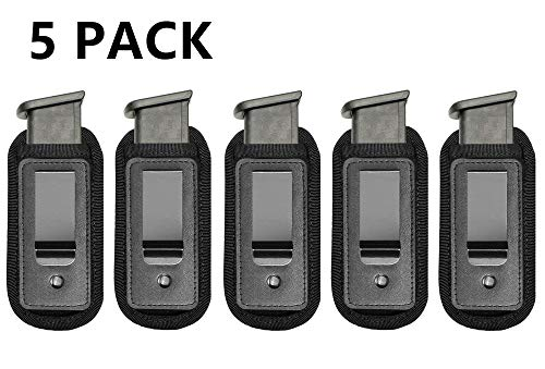 TACwolf 5 Pack IWB Inside Waistband Pistol Handgun Magazine Holster Pouch for Concealed Carry Universal Single Double Stack Mags for Glock17 26 19 Sig Sauer S&W Springfield XD Ruger 9mm/.45 (Kahr Cw45 Mag)