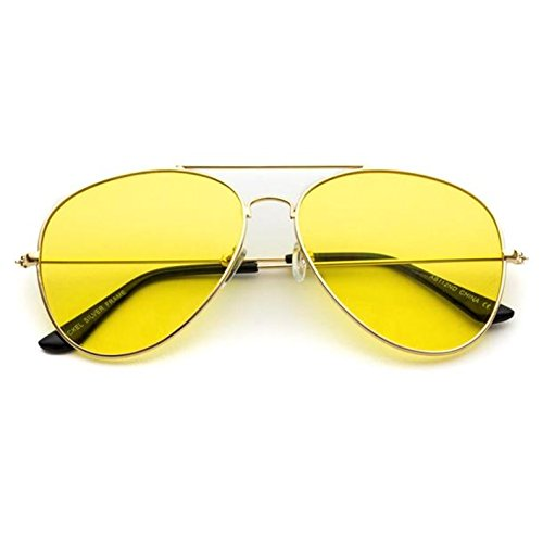 Classic Aviator Style Metal Frame Sunglasses Colored Lens (Gold Frame / Yellow Tint, - Gold With Sunglasses Lenses