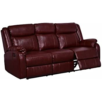 Global Furniture Reclining Sofa, Burgundy