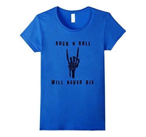 Rock'n Royals Costume (Womens Rock n Roll Will Never Die Halloween Skeleton T-Shirt Medium Royal Blue)