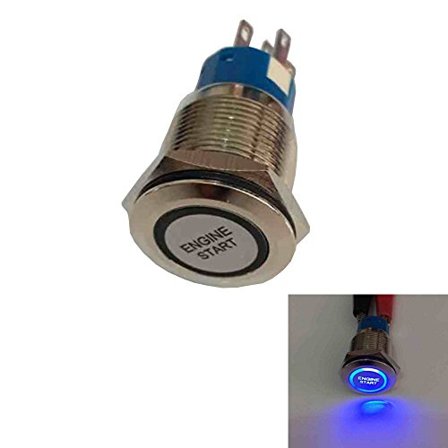 Etopars 12V Car Blue LED Light Momentary Engine Start Push Button Metal Toggle Switch 19mm (Engine Start Button)