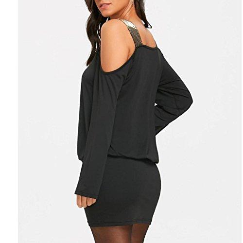 Tian-g Dames Urbaines Bustier Femmes Mode Robe De Paillettes D'épaule Froide Sans Bretelles Sexy Bling Mini Robe Noire Bouffante