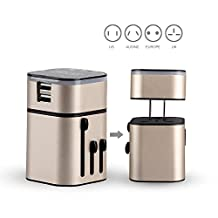 MOCREO®Detachable Universal World Travel Charger All-in-one UK/EU/US/AUS Plugs Safety World Travel Adapter 3200mA Dual USB Ports World Travel Charger (US Plug USB Wall Charger + Universal Travel Charger) (Champagne)