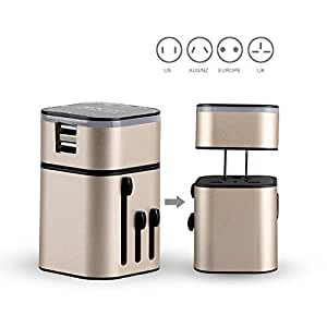 MOCREOTravel Plug Adapter, Detachable International Travel Charger Adapter World Plug Adapter Built-in 3.2 A Dual USB Ports - Universal AC Socket (Champagne)