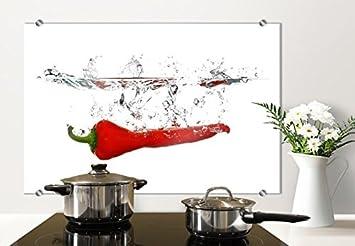 spritzschutz glasbild chilischote mit abgerundeten ecken 80x60 cm mit klemmbefestigungen sp21973 - Glasbilder Kuche Spritzschutz