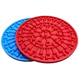 Tysons Pet Treats 2pcs Dog Lick Pad, Bath & Grooming Slow Feeders, Distraction Device,Powerful Suction Cups on The Back, Training-Just Add Peanut Butter (Red &Blue)