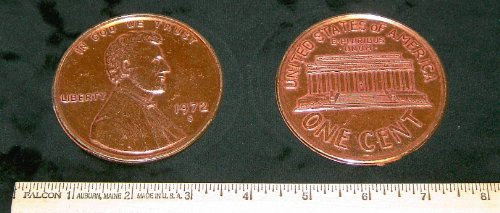 REPLICA 1972 Lincoln Memorial Cent or Penny. Big Huge Large 3