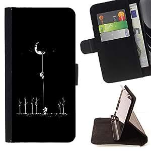 For Samsung Galaxy S4 Mini i9190 (NOT S4) Case , Luna Astronauta minimalista Espacio- la tarjeta de Crédito Slots PU Funda de cuero Monedero caso cubierta de piel