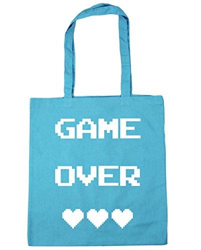 HippoWarehouse Game Over Einkaufstasche Fitnessstudio Strandtasche 42cm x38cm, 10 liter - Surfen Blau, One size