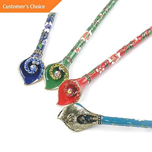 Werrox Cloisonne Chignon Metal Rhinestone Hair Stick Chopsticks Hairpin Pin | Model HRPN - 2350 |