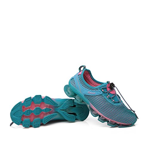 Trotar Casual para Zapatos Ocupaciones Correr Obra Zapatillas Malla en Elegante Mujer Gomnear Zapatos Resbalón para Moda Atlético Azul Deporte para Caminar Respirable qxCT0Wpw