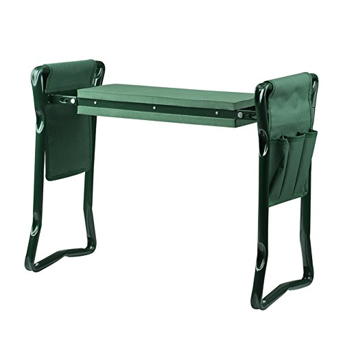 Wuudi Folding Garden Kneeler Seat Bench with Two Tool Pouches and Kneeling Pads Used in Gardening Work